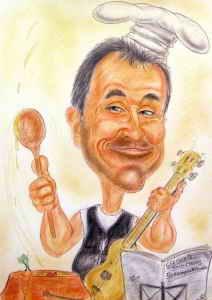 Hobby-Koch mit Gitarre - Farb-Karikatur
