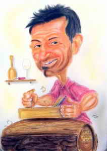 Karikatur eines Tischlers bei der Arbeit an einem Baumstamm