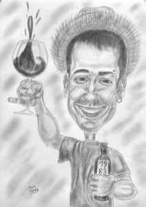Weintrinker mit Strohhut - Bleistift-Karikatur