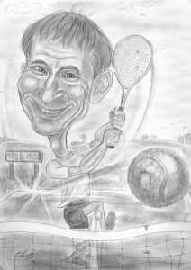 Tennisspieler-Karikatur in Bleistiftausführung