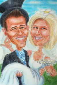 Bräutigam trägt Braut auf Händen - Farbkarikatur