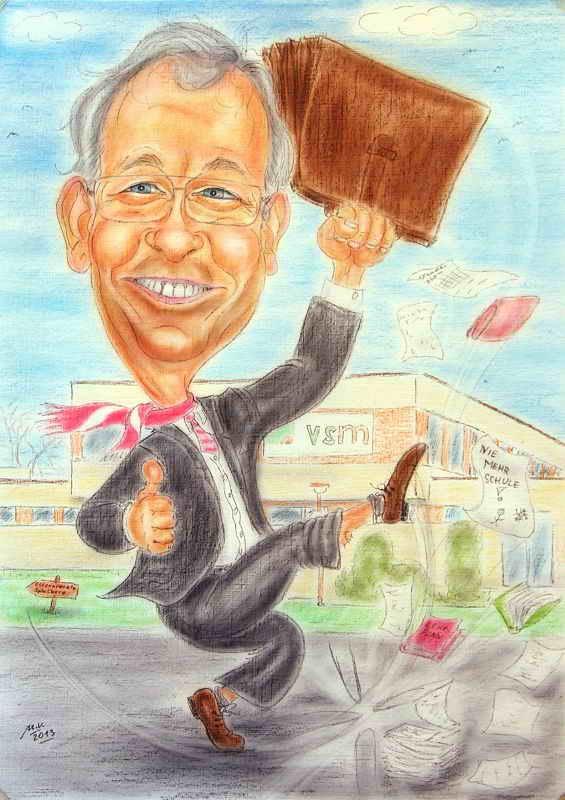 Farb-Karikatur- Geschenk für einen Schuldirektor anlässlich seiner Pensionierung.