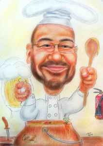 Karikatur eines Kochs mit Bierglas in der Hand