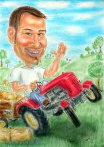 Traktorfahrer Karikatur