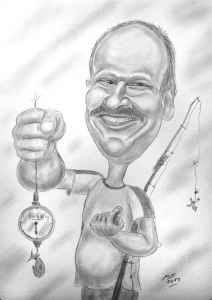 Bleistiftkarikatur eines erfolgreichen Anglers als Geschenk zum 50. Geburtstag