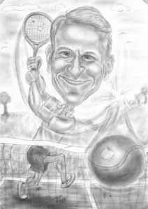 Bleistift-Karikatur eines Tennisspielers