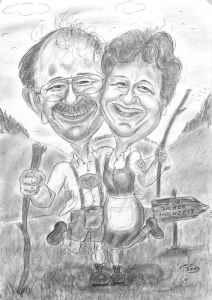 Reifes Trachtenpärchen auf der Alm - Karikatur in Bleistiftausführung
