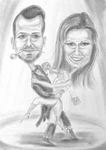 Tanzpaar beim Tango im Scheinwerferlicht - Karikatur