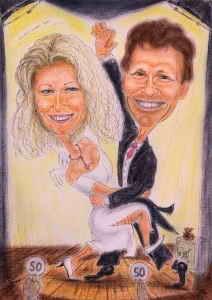 Tanzpaar auf der Bühne - Karikatur in Farbe