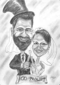 Hochzeitskarikatur, Brautpaar mit Schleier und Zylinder