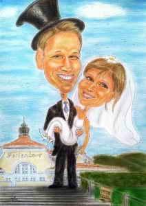 Auf Händen getragen wird die Braut von Ihrem Gatten - Karikatur in Farbe