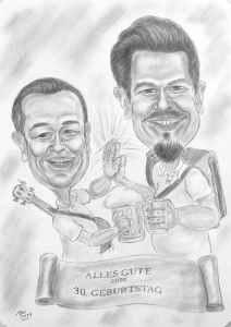 Musiker-Duo - Karikatur in Bleistiftausführung