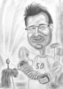 Ziehharmonikaspieler - Karikatur mit Bleistift gezeichnet