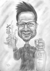 Barkeeper feiert Geburtstag, Bleistift-Zeichnung