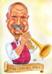 Farb-Karikatur eines Trompeters