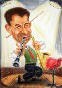 Musiker mit Klarinette und Saxophon - Farbkarikatur