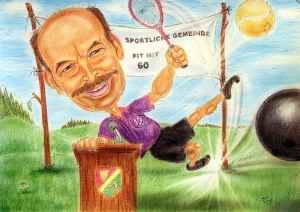 Sportlicher Bürgermeister hinter dem Rednerpult - Karikatur in Farbe