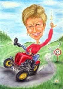 Geschenkidee - Karikatur als Geburtstagsgeschenk eine rasante Bäuerin auf Ihrem Traktor