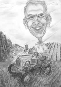 Schwarzweiss-Karikatur eines Traktorfahrers