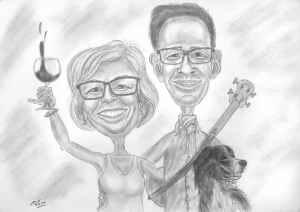 Musikalische Paarkarikatur mit Hund - Bleistiftzeichnung