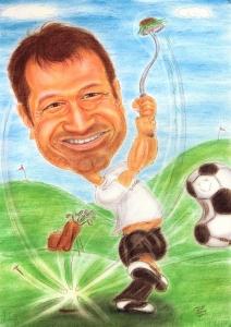 Wenn man Golf und Fussball gleichermaßen mag - Karikatur in Farbe