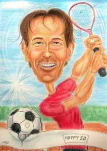 Tennisspieler wird 50 - Karikatur