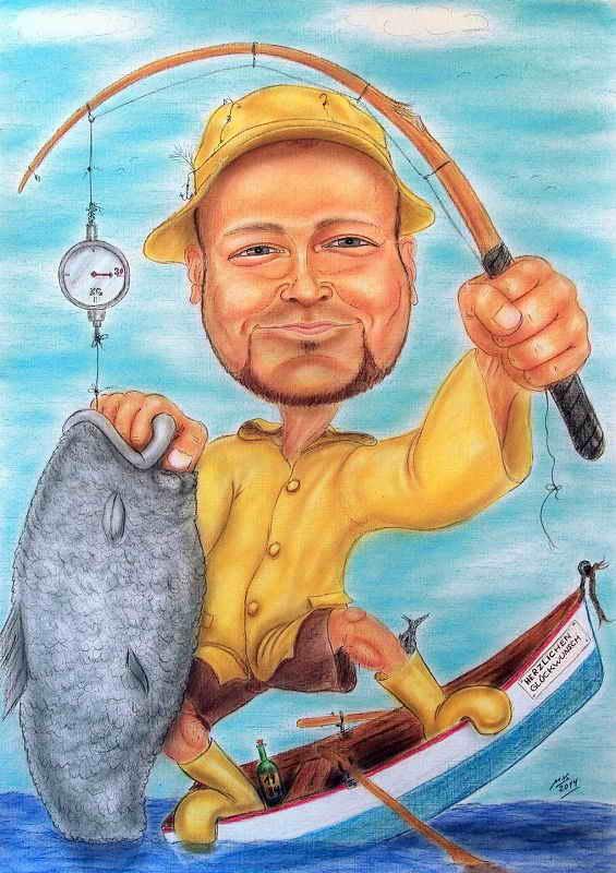 Karikatur - Fischer im Boot stehend mit wirklich dickem Fisch an der Angel