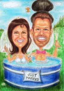Brautpaar im Swimming-Pool - Karikatur in Farbe