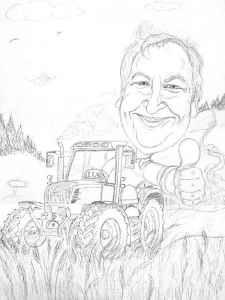 Vorzeichnung - Traktorfahrer im Kornfeld - Karikatur in Farbe