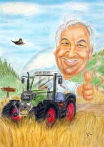 Traktorfahrer im Kornfeld - Karikatur in Farbe