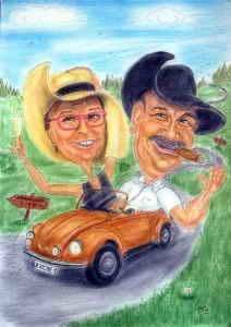 Paar im Käfer-Cabrio - Farbkarikatur