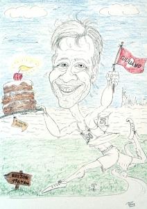 Die Konturen und ersten Farbbereiche der Karikatur sind angelegt, Geschenk zum Geburtstag