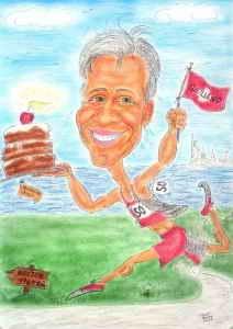 Karikatur als Geschenk zum fünfzigsten Geburtstag eines Marathonläufers