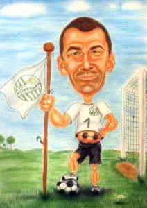 Fussball-Verein - Karikatur in Farbe