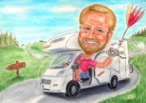 Mit dem Camping-Mobil auf Tour - Karikatur in Farbe