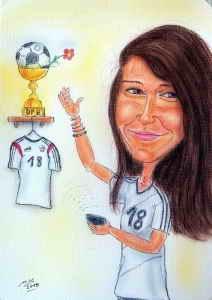 Damenfussball gewinnt langsam immer mehr an Aufmerksamkeit - Karikatur in Farbe - Geschenk zum 18. Geburtstag