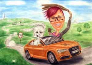 Junge Frau mit weissem Hund im Audi auf Überlandfahrt - Karikatur in Farbe