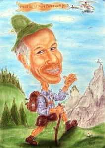 Wandersmann in den Bergen - Farbkarikatur