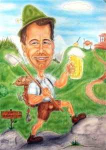 Karikatur eines Berganderers in Farbe