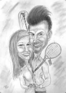 Sportliche Paarkarikatur - Bleistiftzeichnung