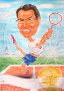 Tennisspieler-Karikatur in Farbe