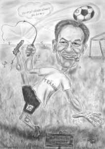 Fussballer-Karikatur - Trainer in Aktion - Bleistiftzeichnung