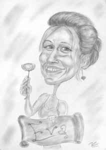 Ein Blümchen zum Geburtstag, Bleistift-Karikatur