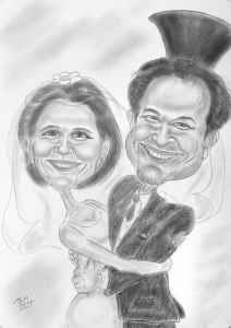 Lächelndes Hochzeitspaar - Bleistiftkarikatur