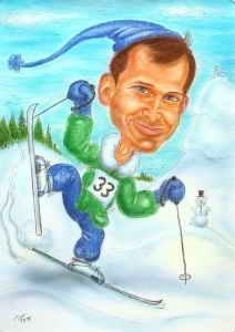 Schifahrer Sportkarikaturen