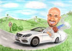 Junger Mann im Mercedes-Cabrio mit goldener Uhr und Luxus-Koffer - Farbkarikatur als Geschenk zum dreissigsten Geburstag