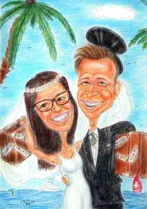 Hochzeitsreise nach Hawai - Farbkarikatur