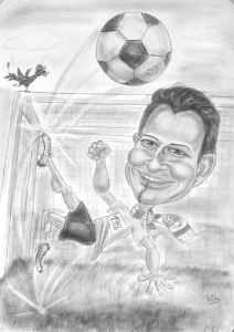 Fussballer-Karikatur - Bleistift schattiert