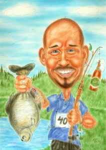 Angler-Karikatur in Farbe zum 40. Geburtstag als Geschenkidee zeichnen lassen