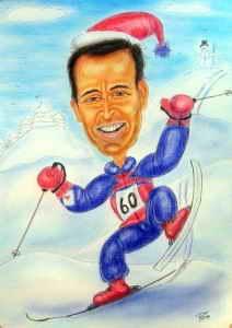 Karikatur eines Schifahrers